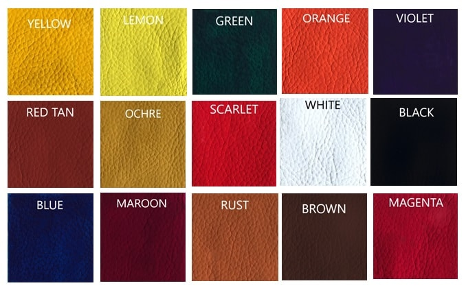 Leather Hero Master Colours Chart