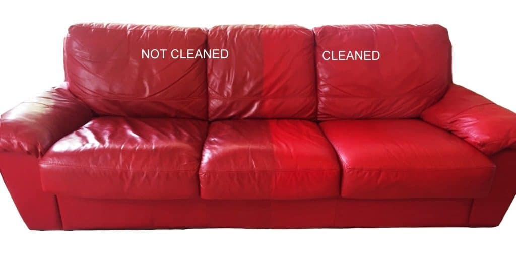 Red Lounge Half Cleaned - Leather Hero